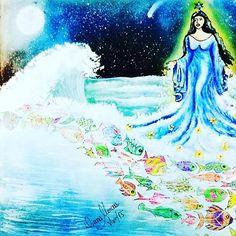Iemanjá, a rainha do mar.  Tutorial de como fiz o mar no meu canal do YouTube, Diana Moraes, acessem.  Yemanja, the queen of the sea.  Tutorial how did the sea on my YouTube channel, Diana Moraes, access.  #iemanja #agua #mar #ondas #nossasenhora #rainha #deusa #oceanoperdido #livrodecolorir #johannabasford #meucolorido #antiestresse  #acrilex_oficial #20likes #follow4follow #like4like #instalike #coloringbookbr #editorasextante #instadaily #lostocean  #instagood #colorfull #adultcolo...