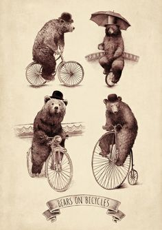 Bears on Bicycles Art Print no info with this, but as I said before, bears & bicycles and I'm in, nice illustration👏👏👏 Art And Illustration, Bicycle Illustration, Monocycle, Circo Vintage, Bear Drawing, Drawing Girls, Bicycle Print, Circus Art, Bear Art