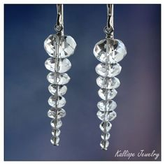 icicle earrings holiday jewelry christmas earrings gift under 25 clear quartz crystal beaded dangle winter jewelry sterling silver earrings. $24.00, via Etsy.
