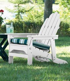 Reclining Wooden Adirondack Chair: Adirondack at L. Adirondack Chair Cushions, Composite Adirondack Chairs, Wooden Adirondack Chairs, Upholstered Swivel Chairs, Porch Chairs, Outdoor Chairs, Outdoor Furniture, Outdoor Decor, Garden Furniture