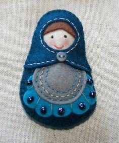 felt matryoshka pin pendant doll art doll brooch by Isomarabe, €12.00