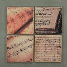 Four 4 inch Italian Marble coasters sheet music designs – Curate Gifts - #musiclover #love #music #musthave