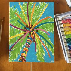Lilly Pulitzer Inspired Palm Tree Canvas by FindingSmiles on Etsy
