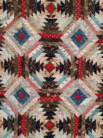 Bizzy Martine: Log cabins in Sainte-Marie-aux-Mines. Closeup of vintage quilt Log Cabin Quilt Pattern, Log Cabin Quilts, Quilt Block Patterns, Quilt Blocks, Log Cabins, Pineapple Quilt Pattern, Pineapple Quilt Block, Antique Quilts, Vintage Quilts