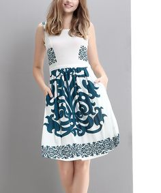 Look at this White & Blue Scroll Sleeveless Fit & Flare Dress on #zulily today!