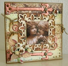 Mixed media heritage sibling page with beautiful punched framing.