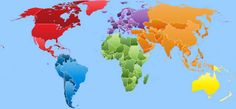 Colorful world map, with color-themed continents.