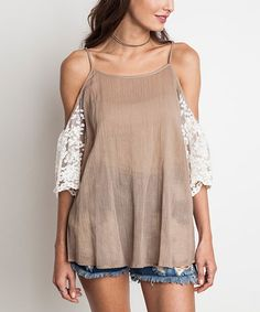 Loving this Latte & Ivory Lace Cold Shoulder Blouse on #zulily! #zulilyfinds@tonjaamen