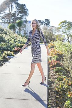 classic wrap dress with heels