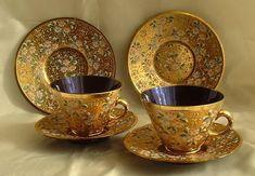 Moser gold floral dinnerware