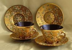 Moser gold floral dinnerware
