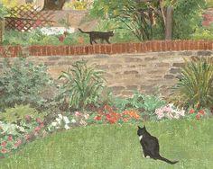 ღღ Ann Hewson    Cats in a Summer Garden, detail    20th century