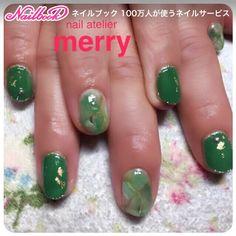 Green, green, green, green, nature green ♪ with one color on gold leaf ♪ # gel nail # green # green # natural stone # autumn nail # short # green # women's party # fall # hand # gel nail # customer # chi 430 # nail book