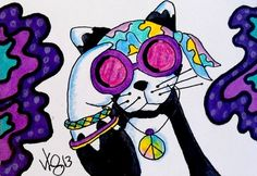 "Aceo Original "" GROOVY DIVA KITTY"" pencil/ink ON EBAY"