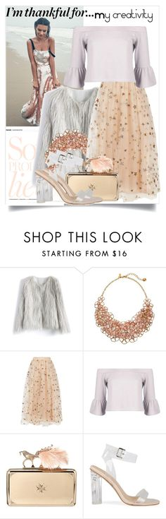 """""""Sin título #835"""" by babyromy ❤ liked on Polyvore featuring Chicwish, Kate Spade, Valentino, Boohoo, Alexander McQueen and imthankfulfor"""