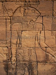 The carving of Apedemak on stone from the Temple in Naqa, Sudan.