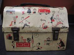 1960's Metal Dome Lunch Box Teenagers Junior High School