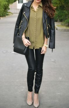 Leather skinnies.