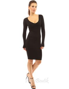 d88bc7f909 V Neck Long Sleeve Plain Sweater Dress