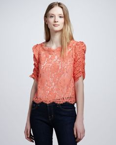 Joie Fanny Boat Neck Lace Top Joie