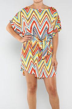 Muli-Colored Print Tunic Dress