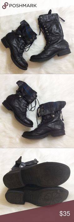 Madden Girl Zorrba Boots Good overall condition! The only major sign of wear is the tear of the lining INSIDE both of the shoes (see pic 4-5) and does not affect appearance at all. Size 7.5, true to size, and well broken-in. All manmade materials. No trades and reasonable offers only! Madden Girl Shoes Combat & Moto Boots