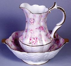 Porcelain Floral Roses Pitcher and Bowl Set