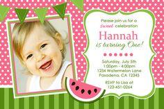 Pink Watermelon Birthday Party Invitation by Honeyprint on Etsy