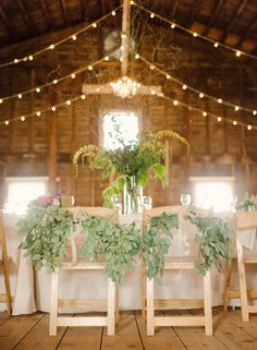 #chair-decor  Photography: Rebecca Yale Portraits - rebeccayaleportraits.com  Read More: http://www.stylemepretty.com/2014/09/12/cozy-hudson-ny-barn-wedding/