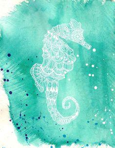 Seahorse Splash - ink, watercolour & collage illustration print on archival paper