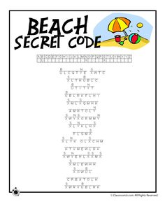 Summer Word Searches and Summer Word Puzzles Beach Secret Code Worksheet – Classroom Jr. Summer Worksheets, Worksheets For Kids, End Of Year Activities, Summer Activities, Holiday Activities, Problem Solving Activities, Physical Activities, Elderly Activities, Dementia Activities