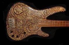 Custom-Painted Guitars | Custom painted bass guitar (herveyart)