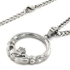 ELYA Stainless Steel 'Claddagh' Circle Pendant with Lobster-Claw Clasp #WestCoastJewelry