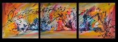 Drôle d'animal. Tableau triptyque multicolore format 30 x 90 cm. Découvrez les tableaux de l'artiste peintre sur https://www.amesauvage.com