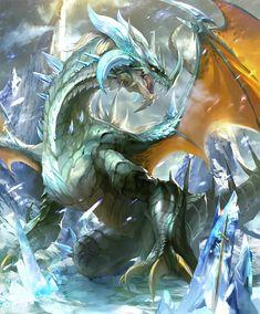 Card: Glacial Dragon Kaiju Monsters, Fantasy Artwork, Elemental Dragons, Dragon Artwork, Grim Reaper Art, Fantasy Creatures, Dragon Art, Dragon Pictures, Dark Fantasy Art