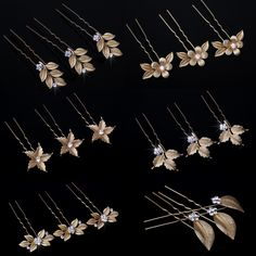 Vintage Feuille Fleur Épingle à Cheveux Vintage Casque Nuptiale Or De Cheveux De Mariage Pins Bijoux Femmes Accessoires Strass Hairwear
