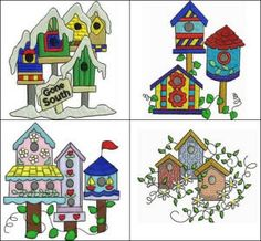 """Bird Houses Set 1"" some birds are  ready to head South to their Winter homes and they're not above putting  out a sign to say so! Soar over to check out the latest in avian abodes  with this fun set!"