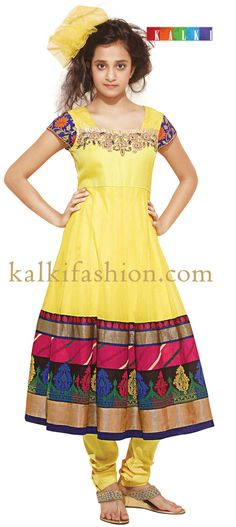 Buy it now  http://www.kalkifashion.com/yellow-anarkali-dress-with-multiple-border.html Yellow anarkali dress with multiple border