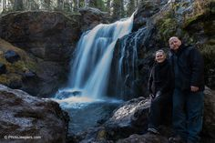 David and Jamie from Photo Jeepers at Moose Falls in Yellowstone
