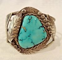 Heavy Vintage NAVAJO Sterling Silver & Stunning Blue TURQUOISE Cuff BRACELET