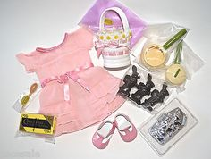 American Girl Easter Candy Making Kit Chocolate Bunny Cooking Tools Pink Dress
