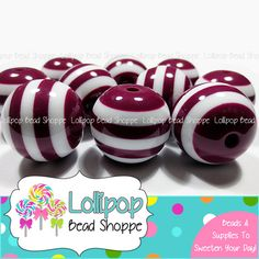 MAROON Striped Beads 20mm Chunky Beads Stripe Resin Beads 10-ct Plastic Acrylic Bubblegum Beads Bubble gum Beads Gumball Beads by LollipopBeadShoppe, $4.00