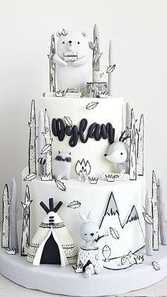 Forêts en noir et blanc - - baby kuchen - Best Gateau Pretty Cakes, Cute Cakes, Beautiful Cakes, Amazing Cakes, Baby Cakes, Pink Cakes, Fondant Cakes, Cupcake Cakes, Cupcake Recipes