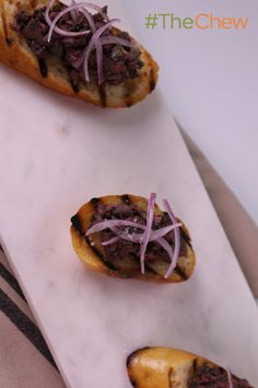Chopped Chicken Liver Toasts by Michael Symon! These tasty bites are packed with some big flavor - you won't be able to liver alone!