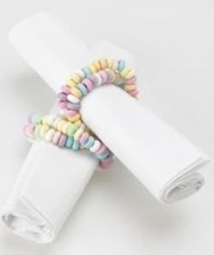 how cute would this be for valentines day, Easter, or a little girl party i candy bracelet napkin rings.how cute would this be for valentines day, Easter, or a little girl party it shower! Girls Tea Party, Tea Party Birthday, Tea Parties, Tea Party For Kids, Rainbow Birthday, 25th Birthday, Birthday Favors, Birthday Celebration, Girl Birthday