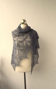 Wuthering Heights hand knitted lace shawl , merino silk shawl. $129.00, via Etsy.