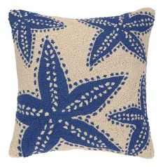 -blue-starfish-on-beige-hook-pillow At Seasideinspired.com Beach Ocean Home Decor