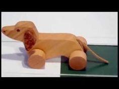 dachshund dog (jamnik) - wooden toy, moving, small