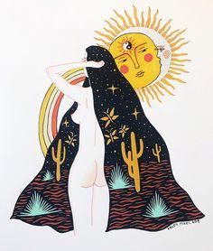 'Cosmic Saguaro Mama' limited Edition Prints are now in stock. Link in bio. Yakuza Tattoo, Art Sketches, Art Drawings, Tattoo Symbole, Psychadelic Art, Mushroom Art, Hippie Art, Dope Art, Art Store