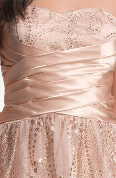 Hailey Logan Satin & Glitter Chiffon Party Dress (Juniors) (Online Exclusive) | Nordstrom